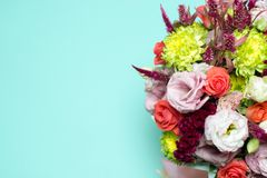 beautiful floral arrangement, pink and red rose, pink eustoma, yellow chrysanthemum Royalty Free Stock Photography