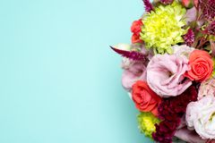 beautiful floral arrangement, pink and red rose, pink eustoma, yellow chrysanthemum Royalty Free Stock Images