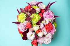 beautiful floral arrangement, pink and red rose, pink eustoma, yellow chrysanthemum Royalty Free Stock Photo