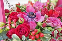 Beautiful floral arrangement of red, pink and burgundy flowers in a pink wooden box. Beautiful floral arrangement red pink burgundy flowers wooden box romantic royalty free stock photos