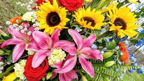 Beautiful Floral Bouquet, Sunflowers, Lillies, Gladiolus, Roses. A beautiful floral arrangement of sunflowers, pink stargazer lillies red roses, yellow gladiolus stock images