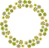 Floral art with wreath of decorative flowers stock photo