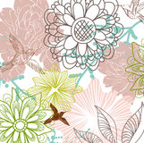 Beautiful floral background. With birds, illustration Royalty Free Stock Photography