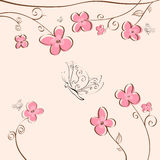 Beautiful floral background. Beautiful square pink floral background with butterflies vector illustration