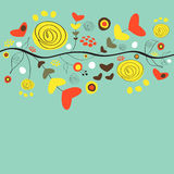Beautiful floral background. With abstract shapes stock illustration