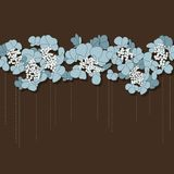 Beautiful floral background with blue flowers. Vector greeting card with horizontal ornament of blue flowers on the brown background vector illustration