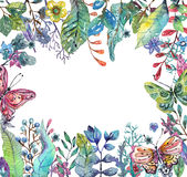 Beautiful floral background with butterfly for holiday design Stock Image