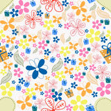 Beautiful floral background. Beautiful pattern with colorful flowers, leaves and gifts Royalty Free Stock Photo