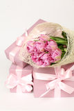 Beautiful floral border with gift and flowers Stock Photo