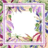 Beautiful floral border. Gloriosa lily flowers with exotic leaves on beige background. Square frame with white space for a text. Watercolor painting. Hand Stock Image