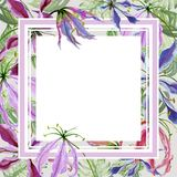 Beautiful floral border. Gloriosa lily flowers with exotic leaves. Pastel colored. Square frame with white space for a text. Watercolor painting. Hand painted Stock Photography