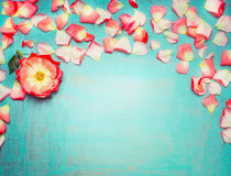 Beautiful floral border with petals on turquoise blue background, top view. Place fot text Royalty Free Stock Image