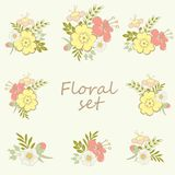 Beautiful floral bouquets set Royalty Free Stock Image