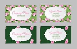 Beautiful floral business cards Stock Photos