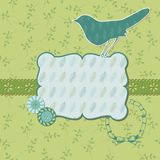 Beautiful Floral Card with Bird Stock Images
