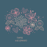 Abstract floral background. Romantic background with hand drawn flowers. Vector illustration. Beautiful floral card for your design Stock Images