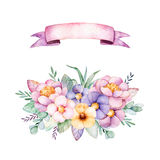 Beautiful floral collection with peony,flowers,leaves,branches,ribbon and more Stock Image