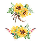 Beautiful floral collection with sunflowers, Royalty Free Stock Image