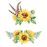 Beautiful floral collection with sunflowers,leaves,branches,fern leaves,feathers. 2 lbright watercolor bouquets for your design.Perfect for wedding,invitation Royalty Free Stock Image