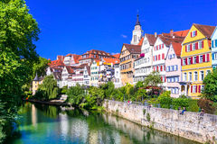 Beautiful floral colorful town Tubingen in Germany Baden-Wurtte Stock Images