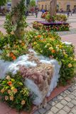 Beautiful floral decoration in Liberty Square, Timisoara, Romani Royalty Free Stock Photos