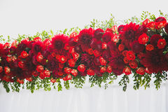 Beautiful floral decoration for outside wedding ceremony Royalty Free Stock Images