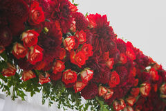 Beautiful floral decoration for outside wedding ceremony Stock Photos