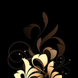 Beautiful Floral Design. A beautiful illustration with an abstract floral design in brown color, isolated on black background Royalty Free Stock Images