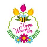 Beautiful floral design decorated greeting card for. Happy Womens Day celebration stock illustration