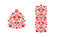 Beautiful floral ethnic red decorative ornamental print, seamless border with abstract pomegranate tree, fruit and flowers for gre