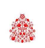 Beautiful floral ethnic red decorative pattern with abstract pomegranate tree, fruit and flowers for greeting card, wedding invita