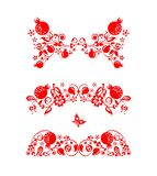 Beautiful floral folk red decorative headers with abstract pomegranate tree, fruit and flowers for greeting card, wedding invitati