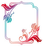 Beautiful floral frame with gradient fill. Raster clip art. Royalty Free Stock Photography