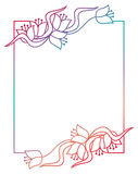 Beautiful floral frame with gradient fill. Raster clip art. Stock Photo