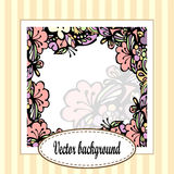 Beautiful floral frame with stripes. Beautiful greeting card with floral frame on a stripe background Stock Photo
