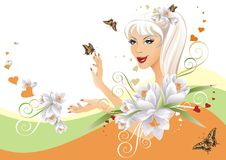 Beautiful Floral Girl Stock Images