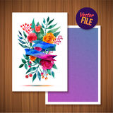 Beautiful Floral Greeting Card Bright illustration invitation card for wedding,birthday and holiday and cute summer background Mot Royalty Free Stock Photography