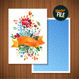 Beautiful Floral Greeting Card Bright illustration invitation card for wedding,birthday and holiday and cute summer background Mot Royalty Free Stock Image