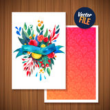 Beautiful Floral Greeting Card Bright illustration invitation card for wedding,birthday and holiday and cute summer Mothers Day fl Royalty Free Stock Photography