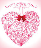 Beautiful floral heart. Beautiful pink floral heart with red bow Royalty Free Stock Photography
