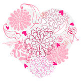 Beautiful floral heart. Beautiful floral pink heart, illustration Stock Photo