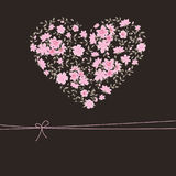 Beautiful floral heart. Editable greeting card with floral heart Royalty Free Stock Photos