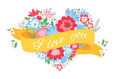 Beautiful floral heart postcard with flowers and ribbon Royalty Free Stock Photo