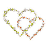 Beautiful floral hearts Stock Images