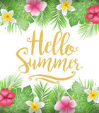 Beautiful Floral Hello Summer Poster with Tropical Leaves and Flowers Stock Photo