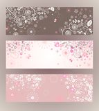 Beautiful floral horizontal banners Stock Photos