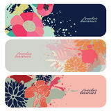 Beautiful floral horizontal vector banners Stock Images