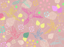 Beautiful floral illustration with birds Stock Photo
