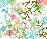 Beautiful floral illustration with birds Stock Image