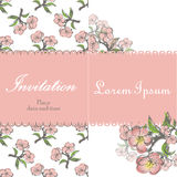 Beautiful floral invitation card with apple twig Royalty Free Stock Photography